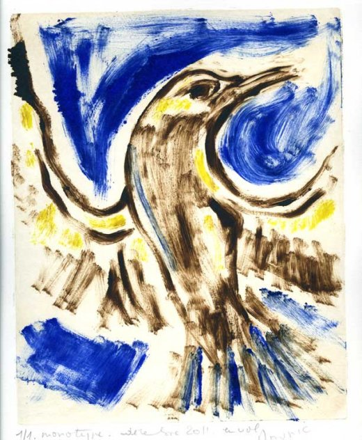 "Anne Mounic, ""Oiseau"". Monotype, 2011."